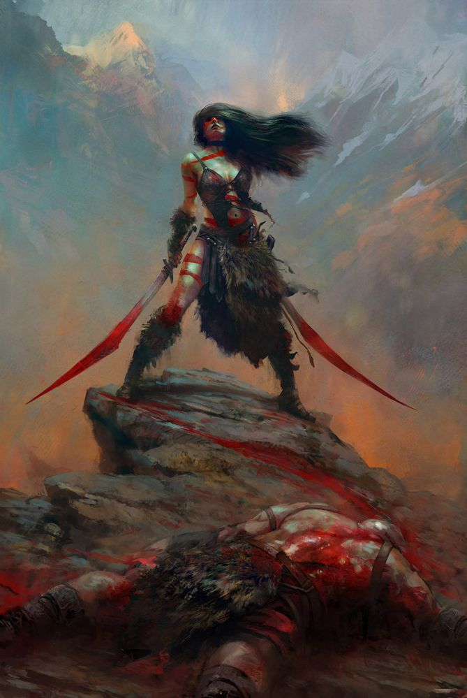 Maciej Kuciara's outstanding image of a female warrior on a mountaintop holding two blood covered swords.