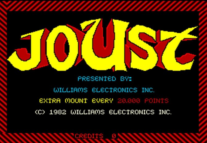 Start screen for Williams Electronics, Inc. (1967-1985) game Joust