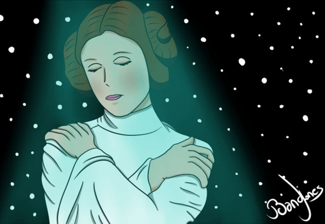 Carrie Fisher tribute image by French artist Sebastien Alexandre
