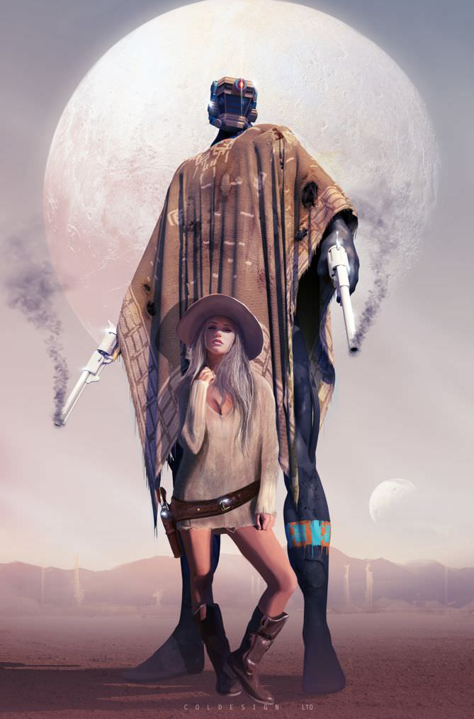 Western themed SciFi image of a tall robot wearing a poncho with a sexy girl with a six shooter at her side.