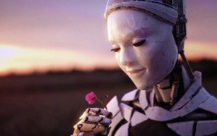 Female robot contemplates the beauty of a flower